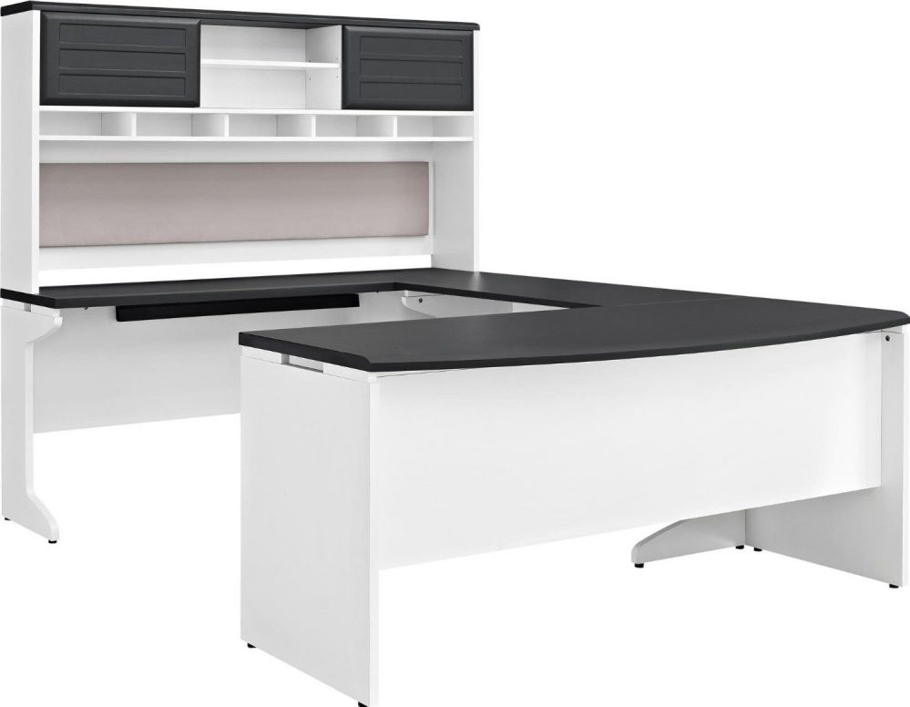 Altra Furniture Pursuit U Configuration Office Set, Black and White