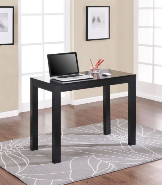 Altra Parsons Study Desk with Drawer, Black Finish