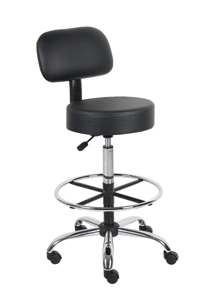 Boss B16245-BK Caressoft Bar Height Office Chair with Back Cushion