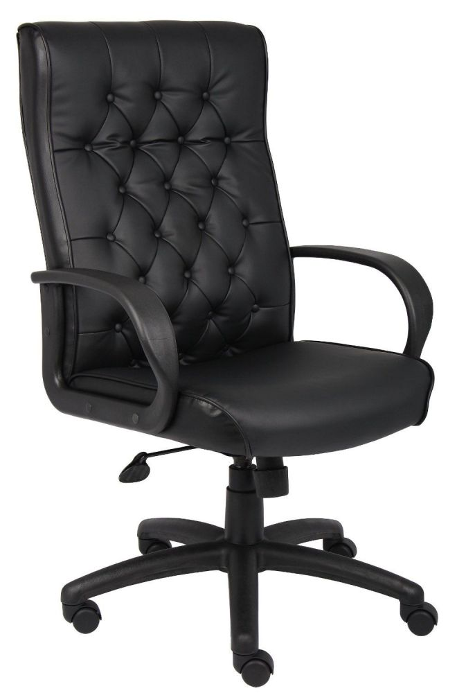 Boss Button Tufted Leather High-Back Executive Chair, Black