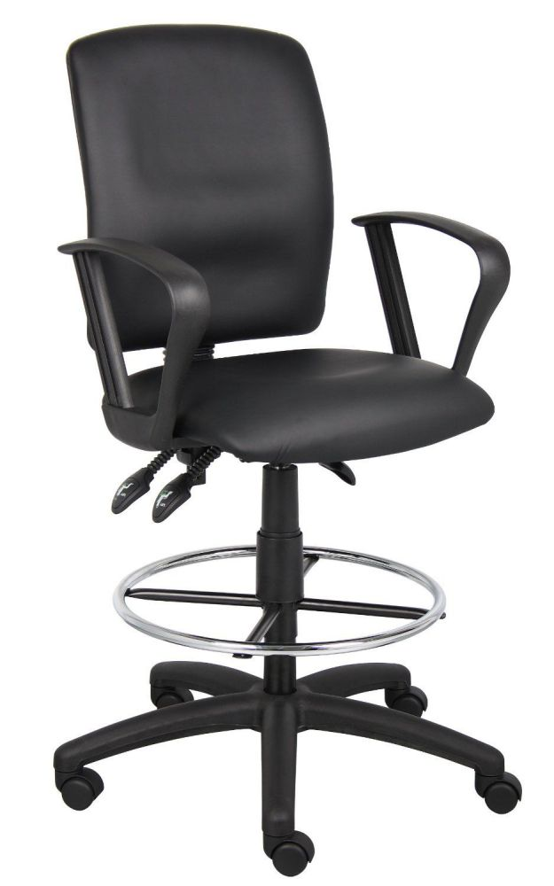 Boss Multi-Function Leatherplus Drafting Stool with Loop Arms