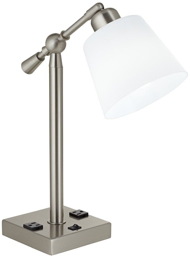Courtland Brushed Steel Desk Lamp with Power Outlets
