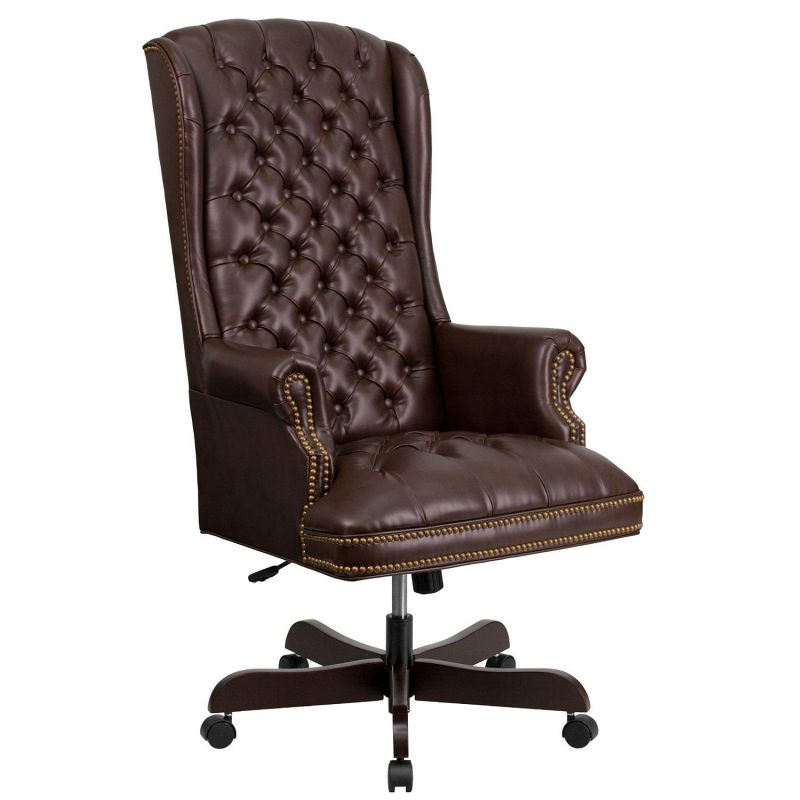Flash Furiture High-Back Traditional Tufted Brown Leather Executive Swivel Office Chair