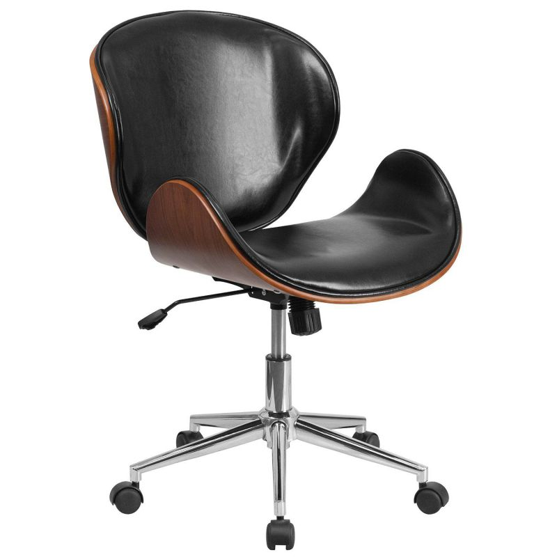 Flash Furniture Mid Back Natural Wood Swivel Conference Chair in Leather, Black