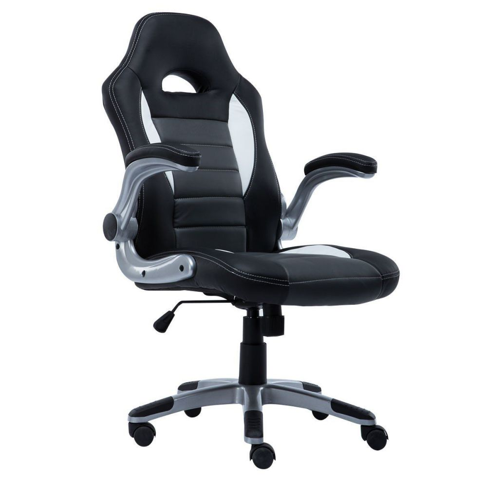 Giantex Pu Leather Executive Racing Style Bucket Seat Chair Sporty Office Desk Chair (Gray)