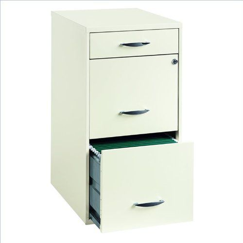 Hirsh Industries 18-inch Deep 3 Drawer Steel File Cabinet in White