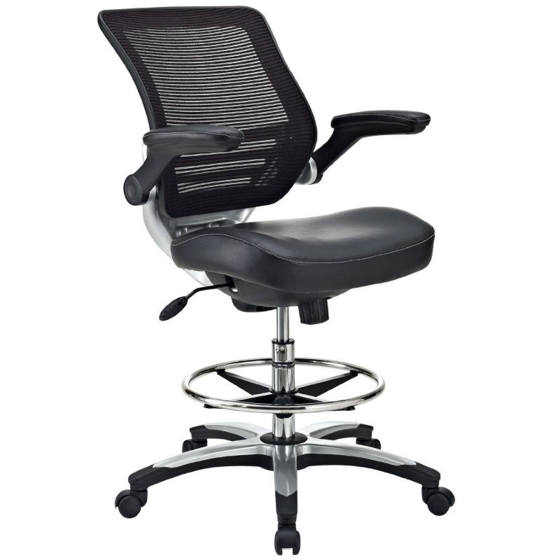 LexMod Edge Mesh Drafting Stool in Black