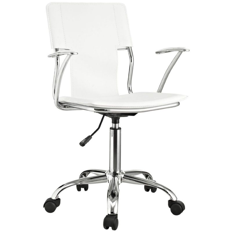 LexMod Studio Office Chair in White Vinyl