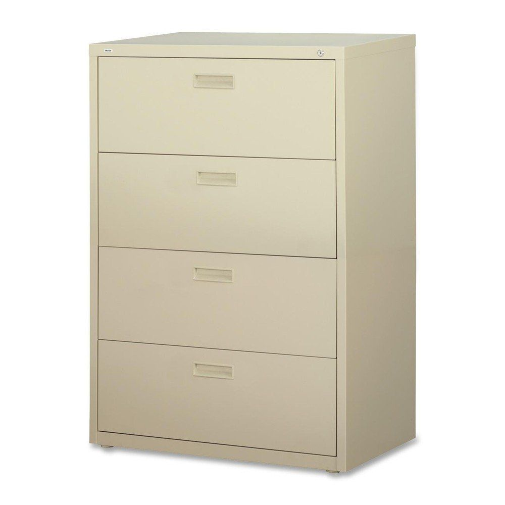 Lorell 4-Drawer Lateral Filing Cabinet in Putty