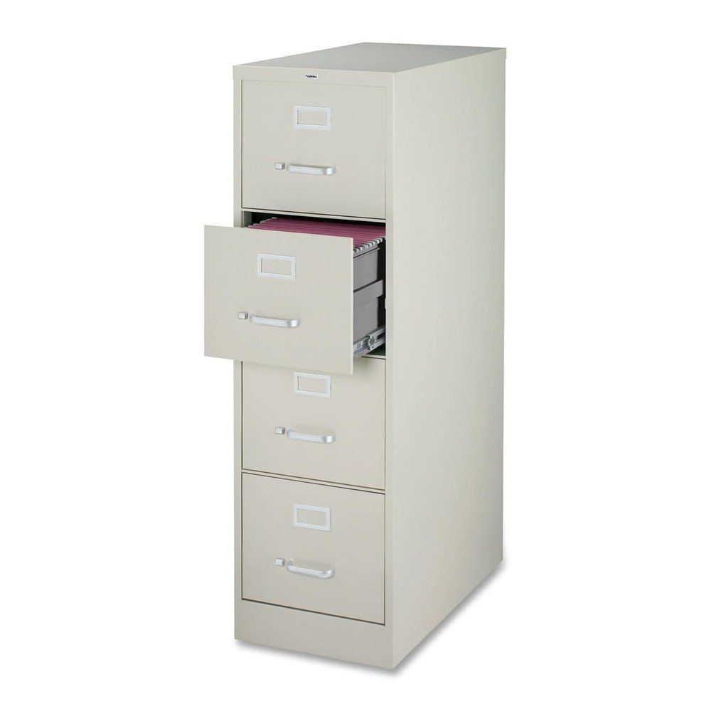 Lorell 4-Drawer Vertical File, 15 by 22 by 52, Light Gray