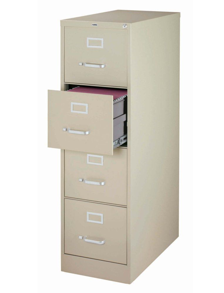 Lorell 60193 4-Drawer Putty Vertical File with Lock