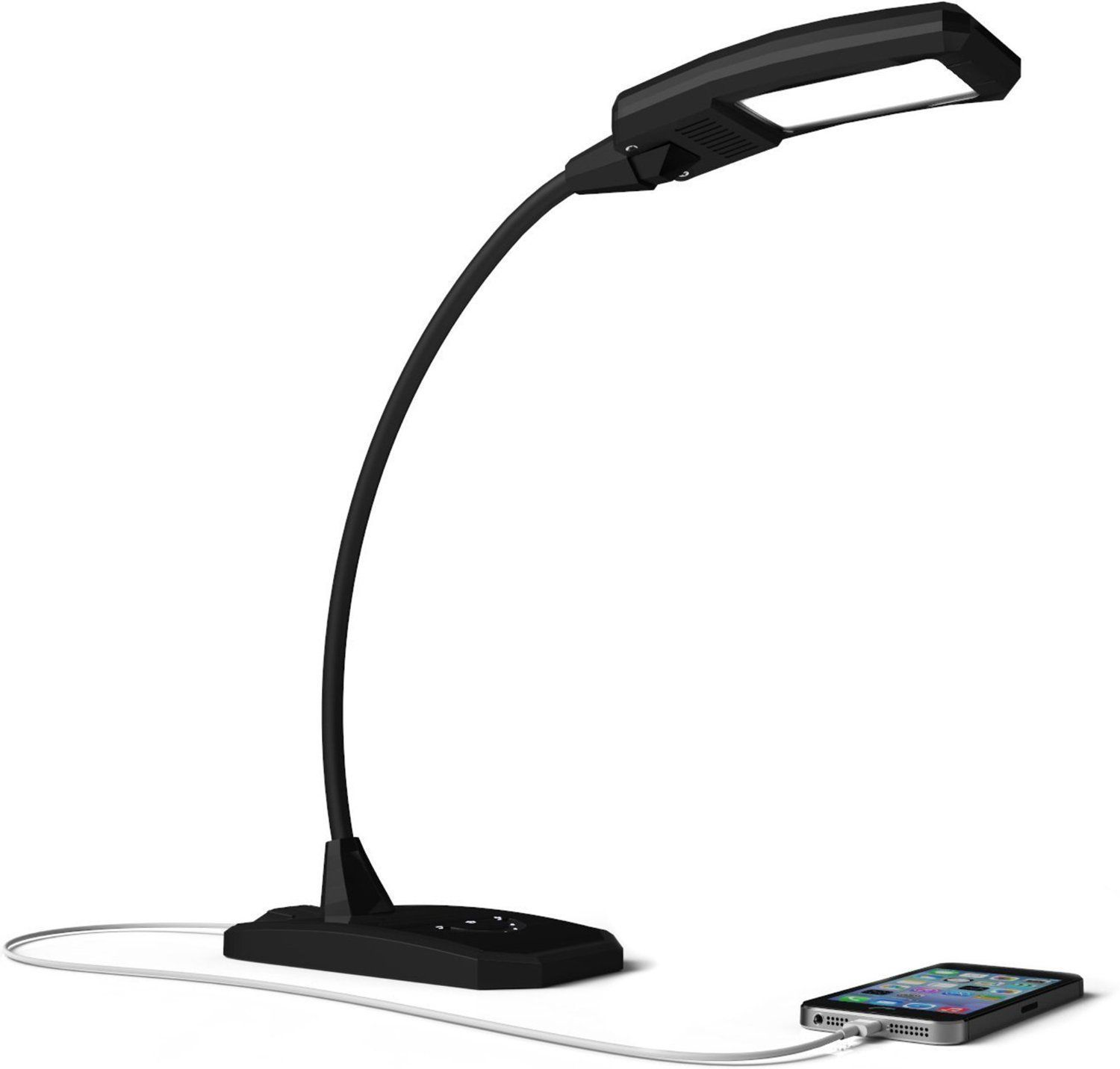 Newhouse Lighting 6W LED Desk Lamp with Dimmer and USB Charging Port Outlet in Black