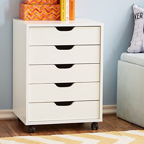 Office Furniture File Cabinet Home White 5 Drawers Wheels Modern Wood Vertical Organizer