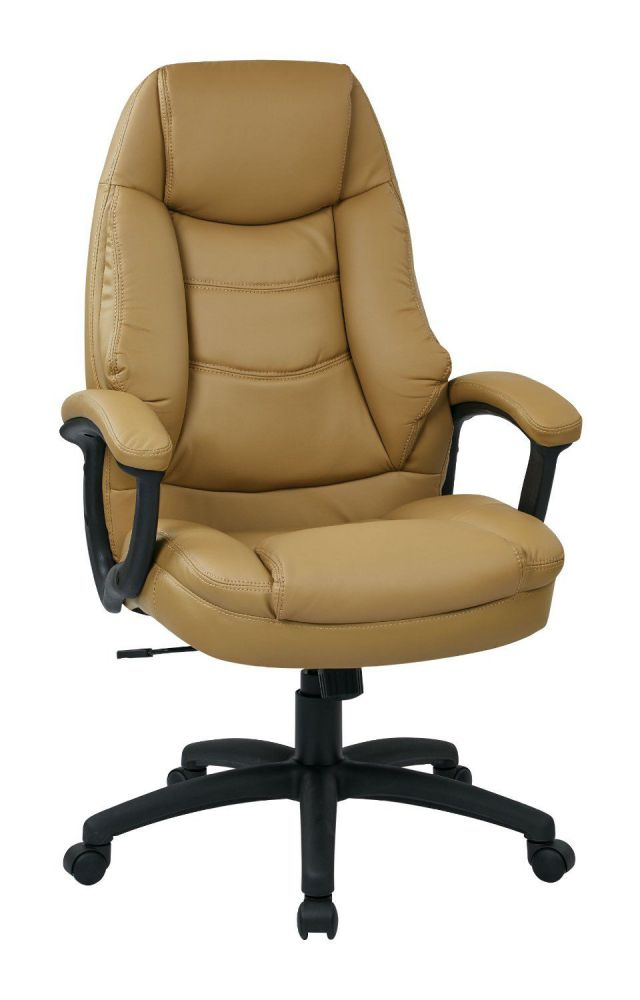 Office Star WorkSmart Oversized Executive Faux Leather Chair with Padded Arms, Tan