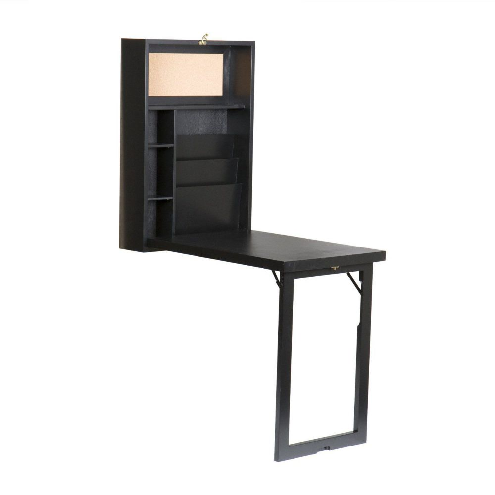 SEI Black Fold-Out Convertible Desk