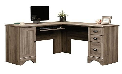 Sauder Harbor View L Shaped Computer Desk in Salt Oak