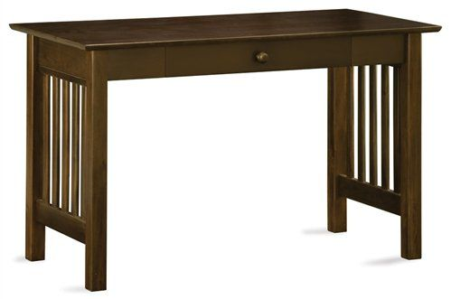 Solid Wood Mission Computer Desk with Drawer in Antique Walnut