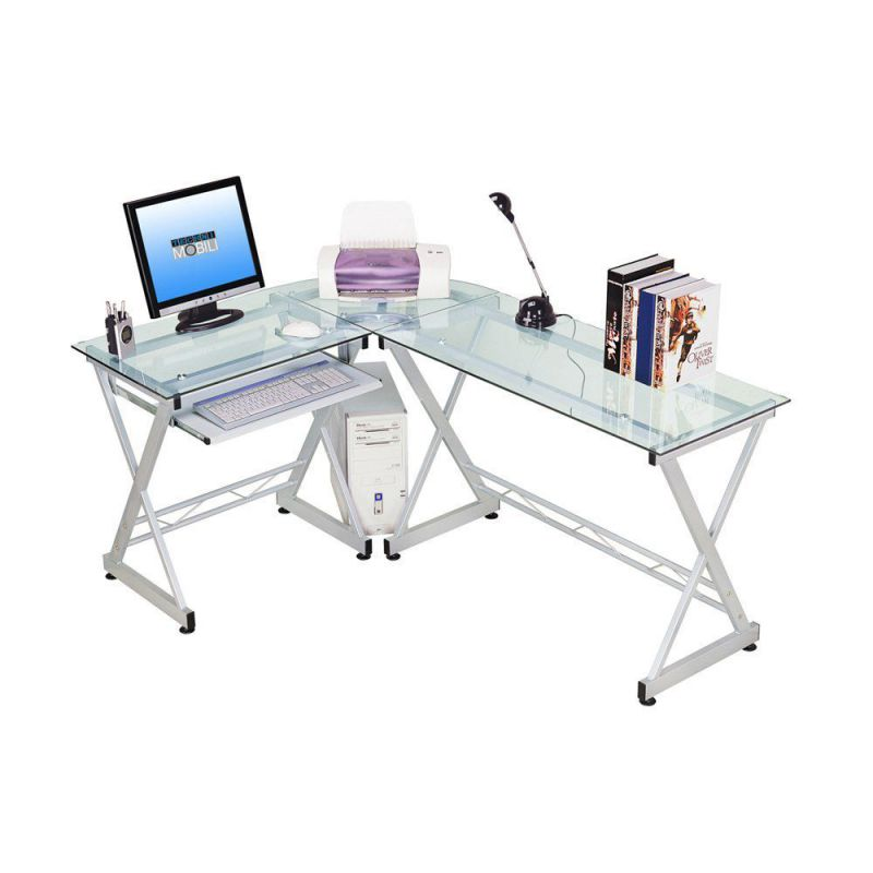Techni Mobili L-shaped Glass Computer Desk Clear