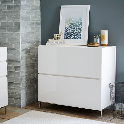West Elm lacquer storage modular lateral file cabinet